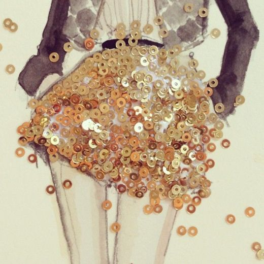 Creative ideas for fashion design sketchbook work - gold sequins & watercolour illustration