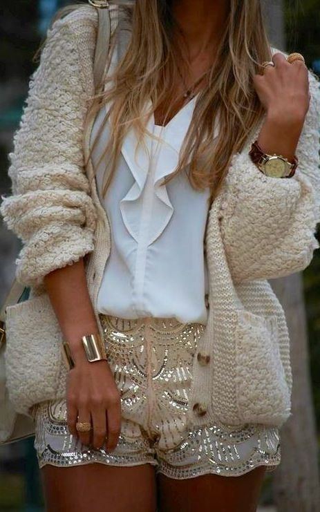 Sequins + cardigan. love the different textures paired together