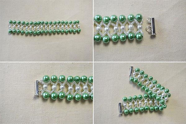 Pearl Bracelet Design-How to Make a Green Pearl Bead Bracelet 5